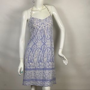 Tommy Bahama Blue & White Printed Halter Dress XS